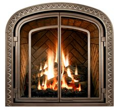 Add intrigue with an optional Madrigal filigree overlay. Greenbriar with Ashton metal front in Copper finish. Fireplace Remodel, Gas Fireplace, Fireplaces, Fireplace Ideas, Fireplace Fronts, Fireplace Inserts, Fireplace Design, New Construction