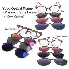 Yodo Optical Frame with Magnetic Clip On Polarized Sunglasses Fishing Hiking NEW