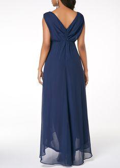 2020 Women Dresses V Back Sleeveless High Low Navy Blue Dress Mob Dresses, Necklines For Dresses, Women's Fashion Dresses, Sexy Dresses, Casual Dresses, Dresses Online, Bridesmaid Dresses, Bride Dresses, Trendy Dresses