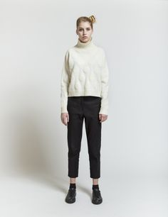 Selhood - womensfashion outfit. Lambswool/nylon knit with bubbles.