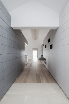 Penthouse : Penthouse V Hallway Design Idea By Destilat showing Light and Dark Wall Panels Storage and Wooden Floor and Kitchen in The Front View. Beautiful White Themed Penthouse V Interior Design in Austria By Destilat House Cladding, Wall Cladding, Shenzhen, Design Studio, House Design, Interior Walls, Interior Design, Plywood Interior, Interior Ideas
