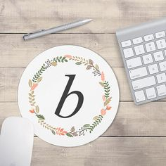 Monogram Mouse Pad, Mouse pad Floral, Personalized Mouse pad (0031)