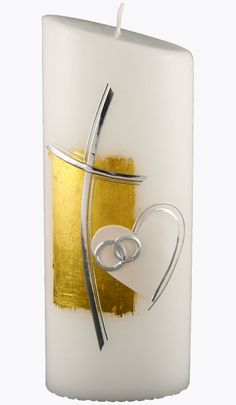 Hochzeitskerze, 4415, Oval 230x90x60, weiß, Kreuz silber geschw. Herz