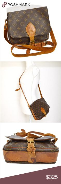 """Authentic Louis Vuitton Cartouchiere MM CROSSBODY This is your chance to get this hard-to-find and adorable Louis Vuitton Monogram Canvas Cartouchiere MM Bag from 1970s!. It features a square shape with a flap top and buckle closure. The vintage Cartouchiere also has a versatile adjustable shoulder strap that can be worn on the shoulder or cross-body for hands-free convenience. This is a must-have for LV collector's!11"""" by 7"""". Hardware tarnished, leather aging and stains, interior scuffs…"""