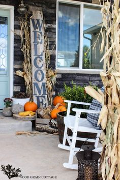 Fall Front Porch - love the welcome sign! The Wood Grain Cottage