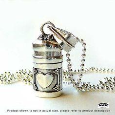 "Heart Locket Pendant 925 Sterling Silver w/ 20"" Sterling Silver Bead Chain P61SFC9 on Etsy, $41.99"