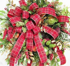 Traditional Christmas Door Wreath Holiday Wreath by LadybugWreaths Christmas Front Doors, Christmas Door Wreaths, Holiday Wreaths, Christmas Home, Christmas Crafts, Christmas Decorations, Winter Wreaths, Christmas Wishes, Holiday Decorating