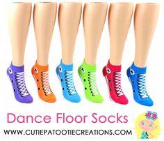Converse Sneaker Print Socks - Bar Mitzvah - Bat Mitzvah - B'Nai Mitzvah - Purple - Orange - Aqua Blue - Turquoise Blue - Red - Lime Green by Cutie Patootie Creations