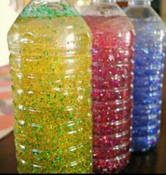 Thinking of having my preschoolers each make one of these. I know I can gather enough water bottles! Calming bottles - these sensory bottles are great for little ones to explore and for preschoolers to use during a cooling off period. Toddler Activities, Preschool Activities, Color Activities, Coping Skills Activities, Teach Preschool, Calming Activities, Toddler Crafts, Crafts For Kids, Quick Crafts