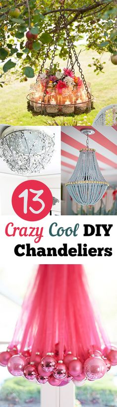 I love chandeliers, and therefore I'm in love with all these DIY chandelier ideas. I can't wait to try some of them out! Keep reading for a list of 13 Crazy Cool DIY Chandeliers ideas. Read Full Article Here by Baileysbunches Cool Diy, Diy Projects To Try, Craft Projects, Outdoor Projects, Fun Crafts, Diy And Crafts, Do It Yourself Baby, Diy Chandelier, Homemade Chandelier
