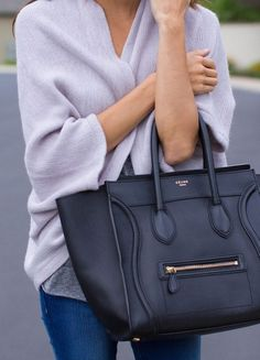 // Celine bag + violet sweater