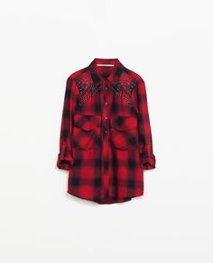 Red, black & gold - ZARA - WOMAN - FADED CHECKED SHIRT