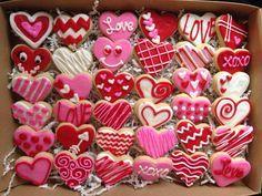 Día de San Valentín corazón azúcar galletas por CrowsCustomCookies