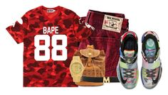 """Trey"" by og-kinghenry15 ❤ liked on Polyvore featuring True Religion, A BATHING APE, MCM, Rolex and NIKE"