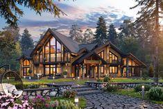 Mountain Home Exterior, Dream House Exterior, Dream House Plans, Home Building Design, Building A House, Dream Home Design, My Dream Home, Luxury Homes Dream Houses, Villa Design
