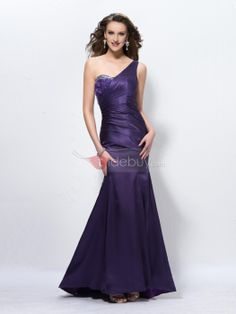 US$118.89 Graceful One-Shoulder Trumpet SweepTrain Floor-Length Beading Evening Dress. #Evening #One-Shoulder #Graceful #SweepTrain
