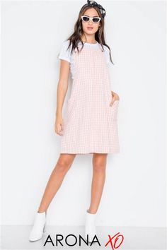 This overall dress from Arona XO is a beautiful overall dress outfit. Wear it as a cute overall dress or overall dress summer. Get this pink overall dress for only $59.99 now at aronaxo.com and shop all our outfit inspirations summer. #overalldress #plaidoveralldress #overalldresssummer #overalldressoutfitfall #overalldresscheckered