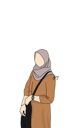 Wallpaper Wa, Aesthetic Iphone Wallpaper, Vector Portrait, Portrait Art, Hijab Drawing, Anime Muslim, Hijab Cartoon, Islamic Pictures, Couple Art