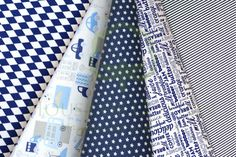 Boys navy blue cotton fabric set with letters, cars, lorries, buses,  stars & stripes / Zestaw chłopięcy