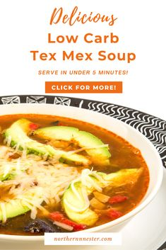Looking for a tasty meal you can prepare in under 5 minutes? This delicious low carb tex mex soup is packed full of flavor and immune boosting nutrients without needing hours of prep! Great as an energizing lunch, this tasty soup is a firm family favorite that everyone will love! #lowcarbsoup #lowcarbtexmexsoup #lowcarbsouprecipe Tex Mex Chicken, Chicken Soup, Low Carb Soup Recipes, Dinner Recipes, E Recipe, Yummy Food, Tasty, Gluten Free Chicken, Low Carb Breakfast
