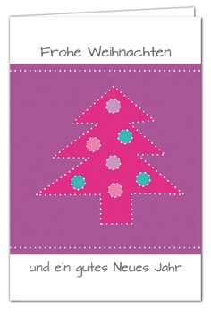 Weihnachtskarte Tannenbaum zum Prickeln - Lila - mit Umschlag in Pink
