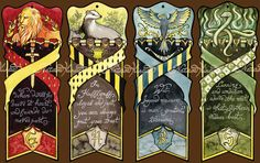 Harry Potter Hogwarts bookmarks by NatasaIlincic on Etsy, €12.00 for set of 4