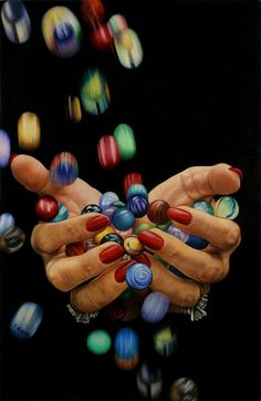 """Losing Her Marbles"" colored pencil drawing by Cynthia Knox for Bodhi"