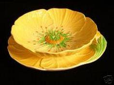 Yellow Buttercup Pattern Cress Dish & Underplate