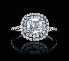 White gold cushion cut double halo diamond ring!