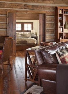 Traditional Living Room Log Cabin Decorating Design, Pictures, Remodel, Decor and Ideas - page 14