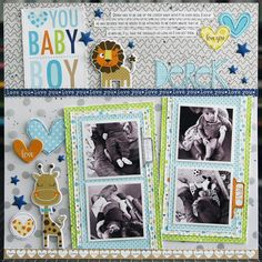 Bella Blvd Cute Baby Boy collection and Clear Cuts specialty papers. Love You Baby Boy layout by creative team member Laura Vegas. Large Scrapbook, Paper Bag Scrapbook, Baby Scrapbook Pages, Baby Boy Scrapbook, Love You Baby, Cute Baby Boy, Cute Babies, Scrapbook Layout Sketches, Scrapbooking Layouts