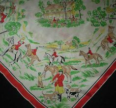 Vintage 50s Fox Hunt Silk Scarf Novelty Print by TheSpectrum
