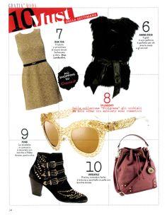 GRAZIA Italia - December issue n.49-2013 _ Pag. 24: Sleeveless sheath #dress by #AtosLombardini. __ #Outfit #Retro #Style #BonTon #Chic