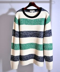 ボーダークルーネックニット / crewneck knit on ShopStyle