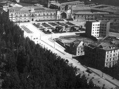 León, fotos antiguas, vista aérea del parador de San Marcos.