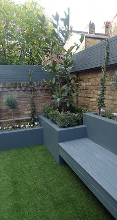 45 Best DIY Outdoor Bench Ideas for Seating in The Garden Grey colour scheme raised beds agapanthus olives artificial grass porcelain grey tiles grey Floating bench lighting Balham Clapham Wandsworth Battersea Fulham Chelsea London Back Garden Design, Modern Garden Design, Raised Bed Garden Design, Contemporary Garden, Small Courtyard Gardens, Outdoor Gardens, Backyard Patio Designs, Backyard Landscaping, Landscaping Ideas
