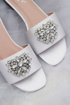 f740800c9 OFF WHITE SATIN Slide Flat Sandals with Satin Bow - Bridal Sandals ...