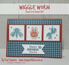 Using the new stamp set – Wiggle Worm. It's really cute and like all great stamp sets, comes with a co-ordinating die set – so n… Poinsettia Cards, Stampin Up Catalog, Kids Birthday Cards, Stamping Up, Kids Cards, Worms, Stampin Up Cards, Cardmaking, Bugs