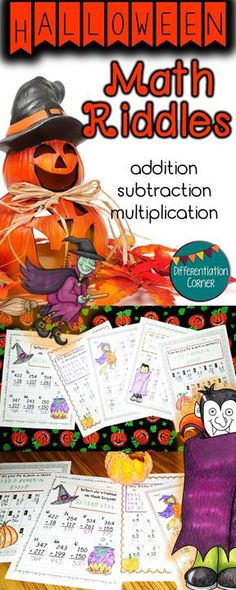 and traditions while supporting addition, subtraction and simple multiplication practice. Most addition and subtraction worksheets are within 100 with a few worksheets within 1000 with borrowing and carrying.  Differentiated addition and subtraction practice for upper elementary grades.  22 back to school themed riddles pages in all: -3 addition -3 subtraction -5 mixed addition and subtraction -5 multiplication -4 MIXED multiplication, subtraction and addition