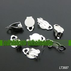 50pcs Silver Plated Ear Clip with 10mm Pad   LT3687 by ministore, $4.30