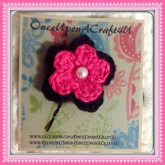 Hand Crochet Flower Bobby Pin Hair Accessory by OnceUponACraft4U, TOO Stinking Cute!!! Want for Emma!