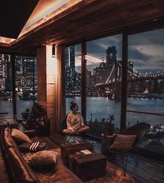 1 Hotel Brooklyn Bridge ~ New York Apartment View, New York City Apartment, Dream Apartment, New York Apartments, New York Homes, Seattle Apartment, Manhattan Apartment, Apartment Goals, Apartment Therapy