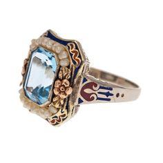 aquamarine antique jewelry | American Aquamarine Seed Pearl and Enamel Antique Ring at 1stdibs