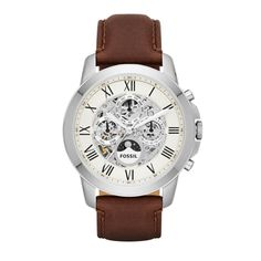 Fossil automatic watch: fossil's unique style Fossil Automatic Watch fossil grant automatic watch with brown leather band HGTRQZS Fossil Watches For Men, Cool Watches, White Watches, Men's Watches, Brown Leather Strap Watch, Skeleton Watches, Bracelet Cuir, Luxury Watches, Moda Masculina