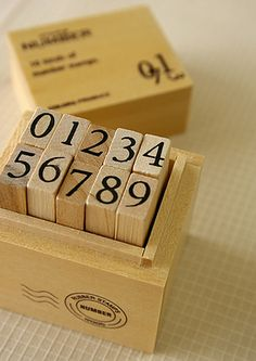 Wooden boxed number stamps by karaku*, via Flickr