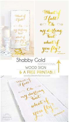 DIY Shabby gold inspirational wood sign & free printable - Dreams Factory
