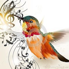 Music vector background with humming bird and notes by Mashakotcur, via Dreamstime