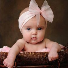Sweet little baby girl, Love the fluffy pink bow! Baby girl photo moment.
