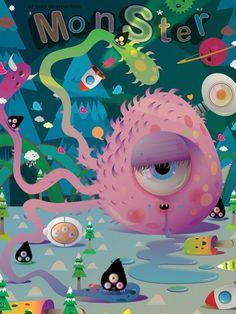 """Planet Monster """"kids #illustration"""