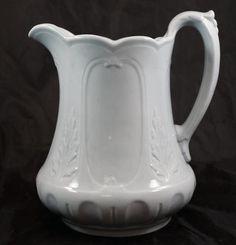 "9"" Antique Staffordshire White Ironstone Pitcher Asia Shape Wooliscroft c1855"